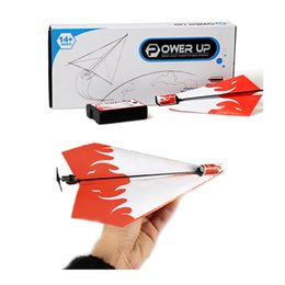 Wholesale pc conversion - 1 Pc Kid DIY Classic Education Flying Power Up Paper Plane Electric Airplane Conversion Model Kit Gifts Toys For Children Create