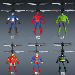Wholesale flying rc toys - Spiderman Iron Captain America RC Helicopter Infrared Induction Kids Action Figures Flying Quadcopter Drone Kids Toys Novelty Items OOA5016