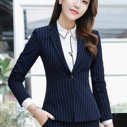 2019 chaquetas de un solo botón para mujer Blazer Diseños de uniformes de oficina Dama a rayas Blazers de un solo estilo Chaquetas delgadas Casual Jaqueta Feminina para mujer Formal chaquetas de un solo botón para mujer baratos