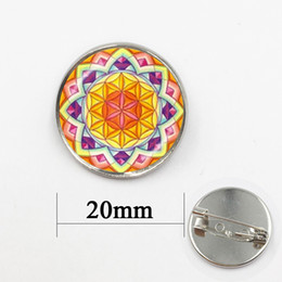 Wholesale Nature Cross - Vintage women accessories beautiful Yoga Mandala flower large brooch pins nature flowers brooches Spiritual jewelry badge