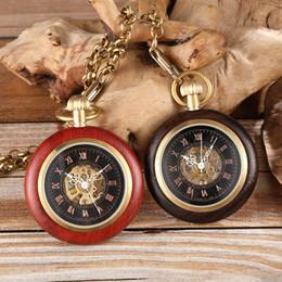 2019 деревянные часы механические Деревянные золотые карманные механические часы женские мужские ручной ветер цепи ожерелье топ Роза черный дерево часы для мужчин и женщин унисекс скидка деревянные часы механические