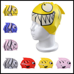 Wholesale Fish Beanies - 22*18cm Silicone Children Cartoon Fish Beanies 14 Styles Kids Swimming Caps Elastic Surfing Bathing Hats Ear Protection
