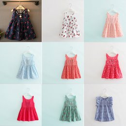 Wholesale Purple Cherry - Flower Printed Vest Girl Dress Cherry Blossoms Dandelion Pineapple Crocodile Printed Flying Sleeve Skirt Baby Toddler Beach Princess Outfits