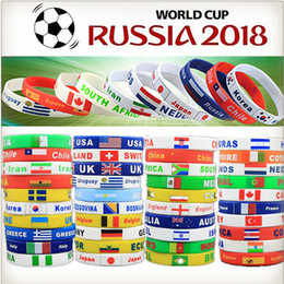Wholesale Patriotic Charms - 2018 Russia World Cup silicone bracelets with national flags sports Wristband Football Fans Silicone Bracelet Souvenir Gift
