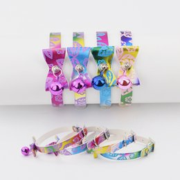 Wholesale Elastic Cat Collars - 12pcs lot Cute Bow Tie Collar for Dogs Pets Cats with Bell Puppy Kitten Necktie Collar Safety Elastic Pet Shop Dog Acessorios