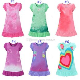 Wholesale girls sleepwear hot - 2018 Hot Sale 12 Style High Quality New Summer Baby Girls Dresses Kids Pajamas T-shir Dress Polyester Nightgowns Sleepwear Tops Clothes
