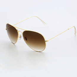 Wholesale Mirror Aviators Sunglasses - 3025 gradient glass lens aviator sunglasses women men 58mm pilot classic brand glasses mirror oculos de sol gold black frame