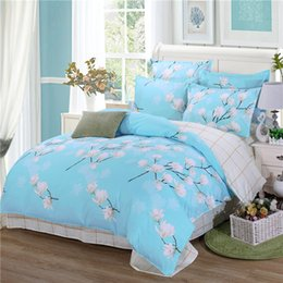 Wholesale Pink Plaid Bedding - duvet cover spring bedding AB side bed set (duvet cover+flatsheet+2pillowcase) 4pcs bedding set Pastoral bedcloth Adult home bed