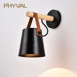 belts home Coupons - LED Wall Light Wood Wall Lamp Bed Bedside Light Night Lights Modern Nordic Lampshade Home Decor White & Black Belt E27 85-265V