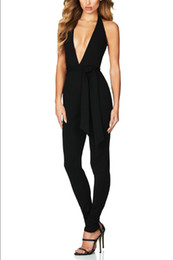 Wholesale Cocktail Jumpsuits - Top Quality Black Sleeveless Deep V-neck Sexy Rayon Bandage Jumpsuits Fashion Cocktail Party Jumpsuits
