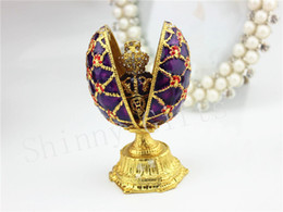 Wholesale Faberge Crystal Eggs - winder Faberge Egg Jewelry trinket jewelled gift Crystal Decorations Easter Gifts race box winder