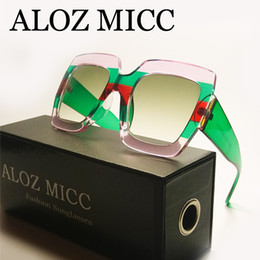 0605157970 eyeglass frames crystal 2019 - ALOZ MICC Top Quality Oversized Square Sunglasses  Women Men Luxury Sunglasses