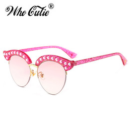Wholesale Pearl Cat Eye Glasses - WHO CUTIE 2018 Pearl Cat Eye Sunglasses Women Brand Designer Half Frame Vintage Diamond Crystal Glitter Sun Glasses Shades OM541
