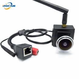 2019 piccola telecamera interna ip HQCAM 720P grandangolare 1.78mm Fisheye Lens Audio IP Camera 1.0 MP Wireless Telecamera Indoor Piccola rete Wifi sconti piccola telecamera interna ip