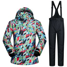 Wholesale Thermal Pants For Men - Wholesale- Skiing Suit Men Waterproof Ski Jacket Snowboard Pant Man Thermal Breathable Outdoor Ski Snowboarding Suits Clothes For Man