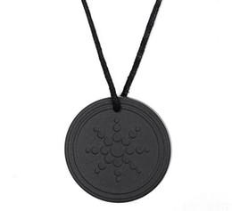 Wholesale Pendant Quantum - DHL Lava Stone Pendant Necklace Scalar Health Energy Quantum Pendant with Negative Ion Energy Natural Stone Pendant Black Jewelry Negative