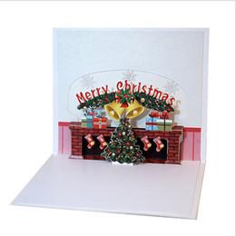lareira atacado Desconto Atacado 10 pcs Handmade 3D Pop Up Christmas Fireplace Cartão de Papel Feliz Natal Lareira Convite 3D Cartão