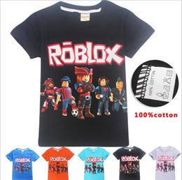 Мальчики девочки Roblox печати футболки 2018 летняя рубашка топы 100% хлопок дети тройники детская одежда 10 шт. CNY750 от Поставщики купальный костюм для женщин