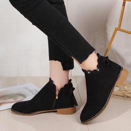 flat camurça botas mulheres Desconto Botas de tornozelo das Mulheres da moda Sapatos Femininos Casuais Ankle Boots de Renda Arco Plana Casuais Senhoras de Camurça Único senhoras sapatos 2018