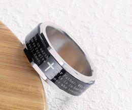 2019 anéis giratórios de aço inoxidável Black Rotating Cruz anéis com palavras da Bíblia de Aço Inoxidável Titanium anel de Anel jesus para Mulheres dos homens Anel