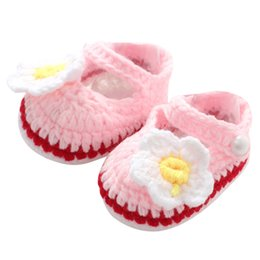 Wholesale Crochet Baby Boy Shoe - Handmade Crochet Knit Baby Shoes Newborn Infant Toddler Kids Boys Girls Velvet Floral First Walkers