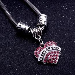 jewelry classes 2018 - 12PC Lot Shiny Pink Crystal Rhinestone Heart Charms Class Of 2017 Bracelet Chain Bangle Women Men Friends School Jewelry Gifts