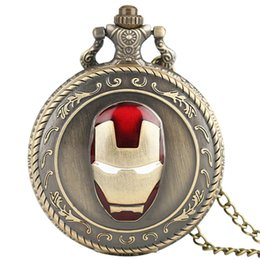 Wholesale Plastic Steel Design - Iron Man 3D Design Pattern Fashion Pendant Gift Antique Pocket Watch Bronze Necklace Chain Steampunk Men Women