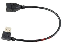 Wholesale usb extended - Wholesale- 0.2M 90 degree Right angle USB 2.0 A M F male to female extend Cable Cord 20cm