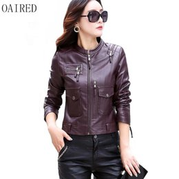 Wholesale Leather Motorcycle Jacket Small - OAIRED Plus Size Motorcycle Leather Jacket Women 2017 New Leather Coat Women Short Slim Small Clothing Female Outerwear