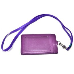 Wholesale business card company - 1PC High Quality Leather Id Holder Case PU Business Badge Card Holder with Necklace Lanyard letter print company office supplies