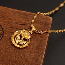 Wholesale Дубайский кулон женщины ожерелье k штраф твердого желтого золота GF девушки партия ювелирных изделий Африка Arabrose милая роза цветок подарки