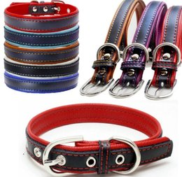Wholesale Wholesale Dog Collar Buckles - Colorful Leather Pet Collars Dog Collar Soft Leather Dog Leash Dog Supplies Mix Color pet Collars Neck Buckle KKA4145