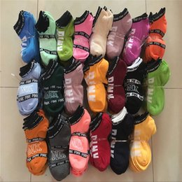 Wholesale Girls Ankle - Love Pink Ankle Socks Sports Cheerleaders Short Sock Girls Cotton Sports Socks Pink Skateboard Sneaker Stockings Fast DHL Shipping B11