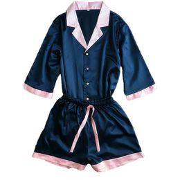 Сексуальные V-образным вырезом из искусственного шелка с пижамными комплектами для женщин Плюс размер Топы Шорты Розовый Синий Пижамы Пижамы Femme 2 шт. supplier blue sexy pyjamas от Поставщики синие сексуальные пижамы