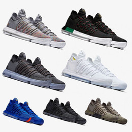 Wholesale Durant Basketball - Newest Zoom KD 10 Anniversary PE BHM Red Oreo triple black Men Basketball Shoes KD 10 Elite Low Kevin Durant Athletic Sport Sneakers