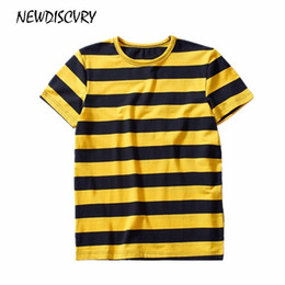 c7005097835 NEWDISCVEY Men's Striped T-shirt 2018 Summer Fashion Cotton Men Tee T Shirt  O Neck Loose Casual Short Sleeve Man Tshirt Tops cheap wholesale striped t  ...