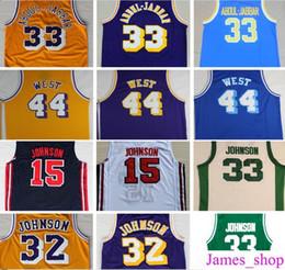 Wholesale Magic Multi - Throwback #32 Magic Johnson Jersey 33 Kareem Abdul Jabbar 44 Jerry West Purple Yellow Green 33 Earvin Johnson College Basketball Jerseys