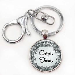 Wholesale inspiration days - Carpe Diem Pendant Seize The Day Inspiration Quote Jewelry Empowerment Key Chain Keyring Keyfob