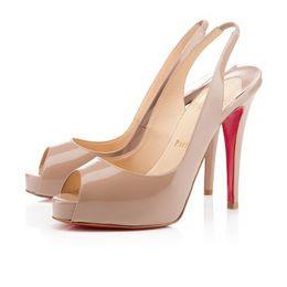 {Оригинальная коробка}12 см Марка женщины красные днища высокие каблуки Sexy Peep-toe платформа Красное дно обувь женщины насосы туфли на высоком каблуке размер 35-42 от