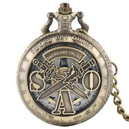 quartz online Desconto YISUYA Espada de Arte Em Linha Relógio de Bolso De Quartzo Steampunk Colar Pingente de Bronze Do Vintage Fob Cadeia