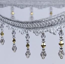 Perle nähen online-Typ 7 12 Meter Strass Perle Anhänger Hängen Spitzenbesatz Band Für Fenster vorhänge hochzeit Dekorieren Bekleidung Nähen DIY