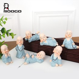 Wholesale Funny Desks - Roogo Funny Monk Figurines 7pcs  Set Hot Selling Life Shape Miniature Figure Desk Ornament Office Decor Buddha Statue Zen Garden