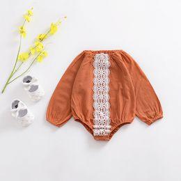 haifisch großhändler Rabatt Ins Baby Strampler Kürbis Farbe Spitze Lange Ärmel Overalls Für Kleinkinder Frühling Herbst Neue Kleidung Freies DHL A899