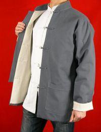 Fino lino gris Kung Fu Artes marciales Chaqueta de la capa de Tai Chi XS-XL o a medida por encargo desde fabricantes
