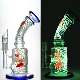 Wholesale glow patterns - Glow in the Dark Bong 7 Inches Glass Bongs Spider Web Cobweb Pattern Dab Oil Rigs Honeycomb Disc Percolator Water Pipe GID09