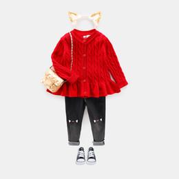 Argentina Niños Niñas Suéter Cardigan Edad para 1-8 Suéteres gruesos simples y gruesos 2018 New Autumn Baby Tops de punto Niño pequeño lindo Suéter rojo supplier cute baby red top Suministro