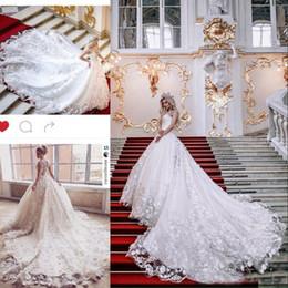 Wholesale Make Keys - 2018 Glamorous 3D Floral Appliques Lace Wedding Dresses A-Line Tulle Key-Whole Sheer Back Sexy Bridal Dresses Long Chapel Train