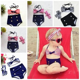 Wholesale Girls Swimsuit 3pcs - Baby Girl Striped Halter Swimwear top+brief+Headband 3pcs Swimsuit Beachwear Kids Baby Girl Bikini Clothes Set 5 colors FFA073