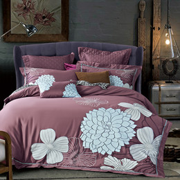 Wholesale Embroidered Pink Duvet Covers - White Flowers luxury Long Staple Cotton Embroidery Pink Bedding Set Duvet Cover Bed Linen Bed sheet Pillowcase King Queen Size