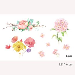 Wholesale Stickers Tattoos For Kids - Wyuen Watercolor Flower Waterproof Temporary Tattoo Stickers for Adults Kids Body Art Fake Tatoo for Women Men Tattoos P-085